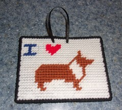 Brand New Needlepoint Sign I Love Pembroke CORGI For Dog Rescue Charity - $9.99