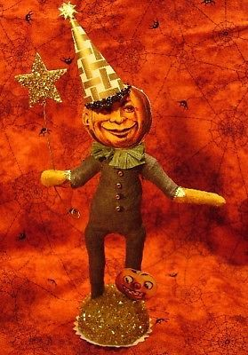 Vintage Inspired Spun Cotton Pumpkin Moon Man
