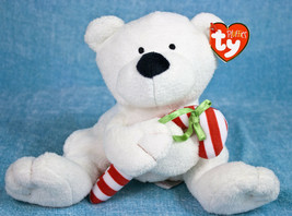 Ty Pluffies Candy Cane White Teddy Bear Plush Stuffed Animal Baby Lovey ... - $11.95