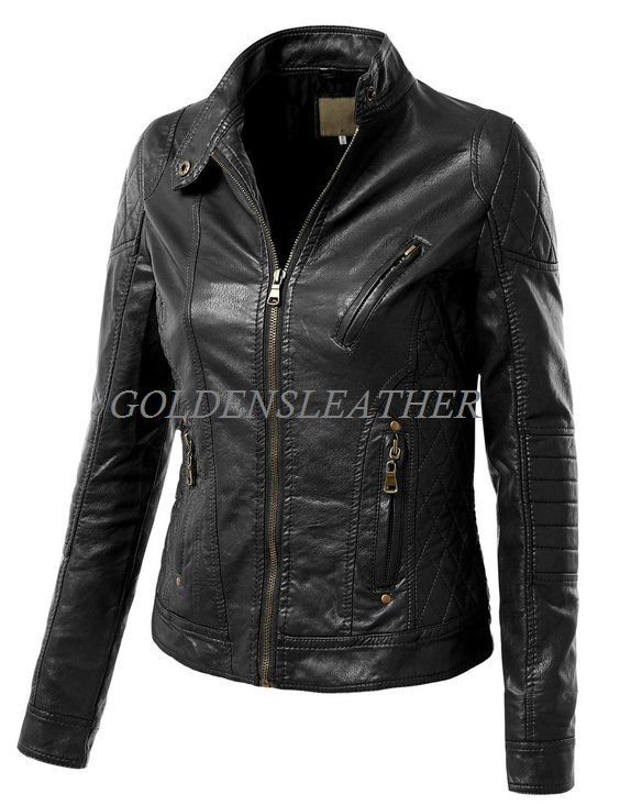 WOMEN BIKER MOTORCYCLE CASUAL SLIM FIT RIDER REAL GENUINE  LEATHER JACKET-A39