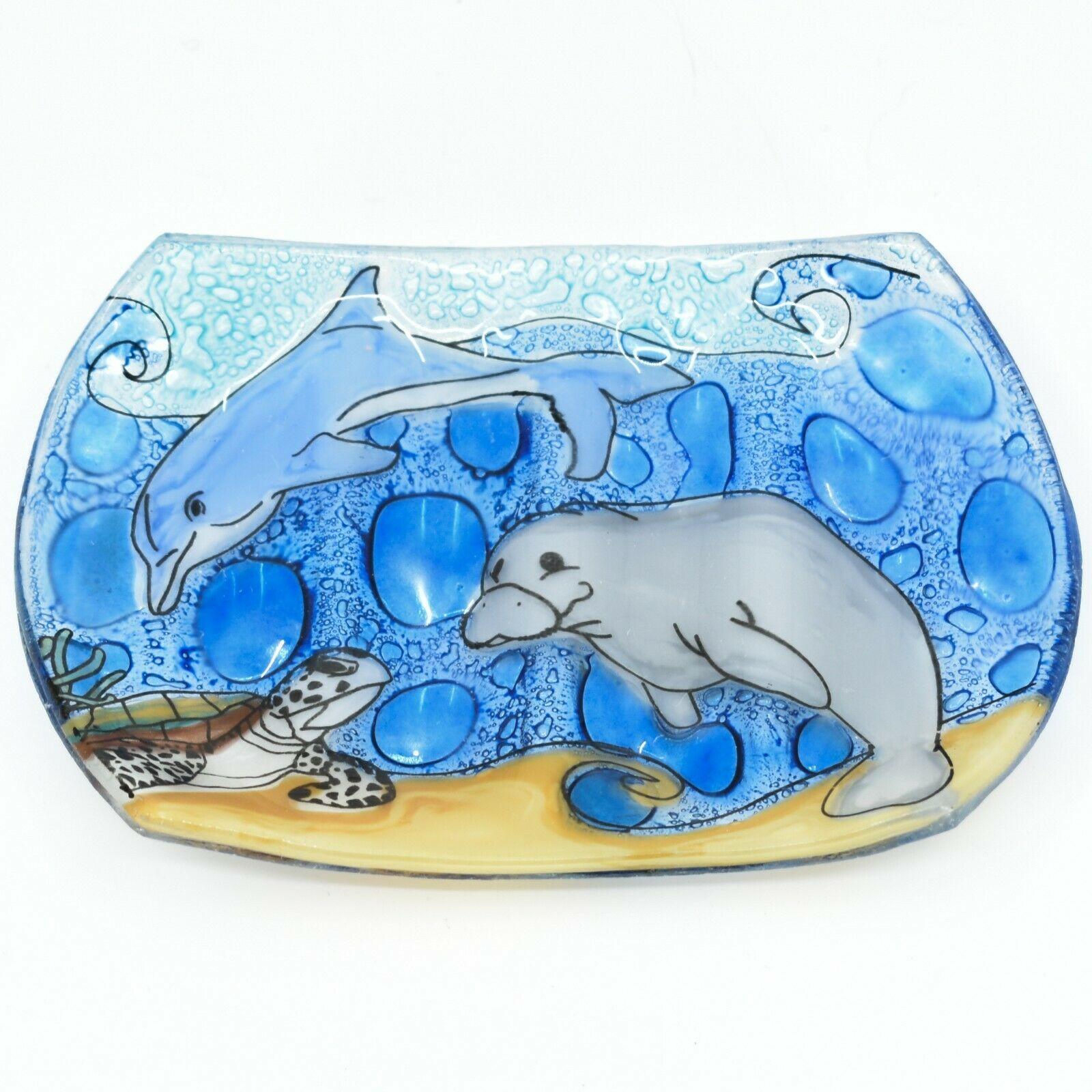 Fused Art Glass Sea Turtle Dolphin Manatee Ocean Soap Dish Handmade in Ecuador
