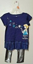 Disney Frozen 2 Toddler Girls Believe in Miracles Blue & Silver Elsa Out... - $15.76