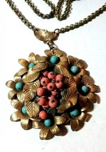 VINTAGE LEAVES FLOWERS BRASS LARGE ANTIQUE NECKLACE PENDANT - $95.00