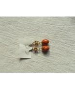 "pierced Vintage Beaded brown tarnished Jewelry Drop Dangling Earrings 3.5"" - $7.02"