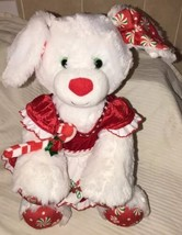 Build A Bear White Dog Plush Merry Mint Peppermint Christmas Puppy Stuffed BABW - $19.79