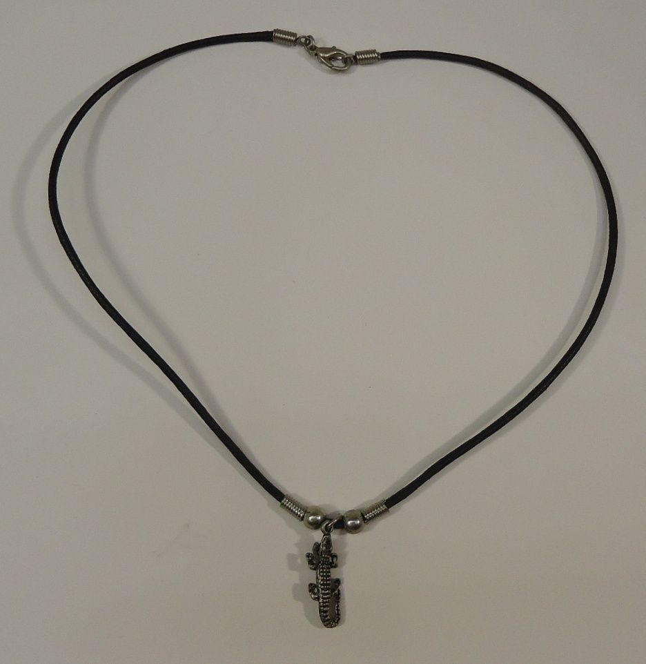 Alligator Charm Necklace Waxed Cotton Cord Lobster Claw Clasp 18 in