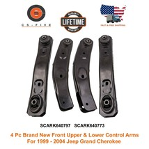 4 Pcs Brand New Front Upper & Lower Control Arms 1999 - 2004 Jeep Grand Cherokee - $106.25