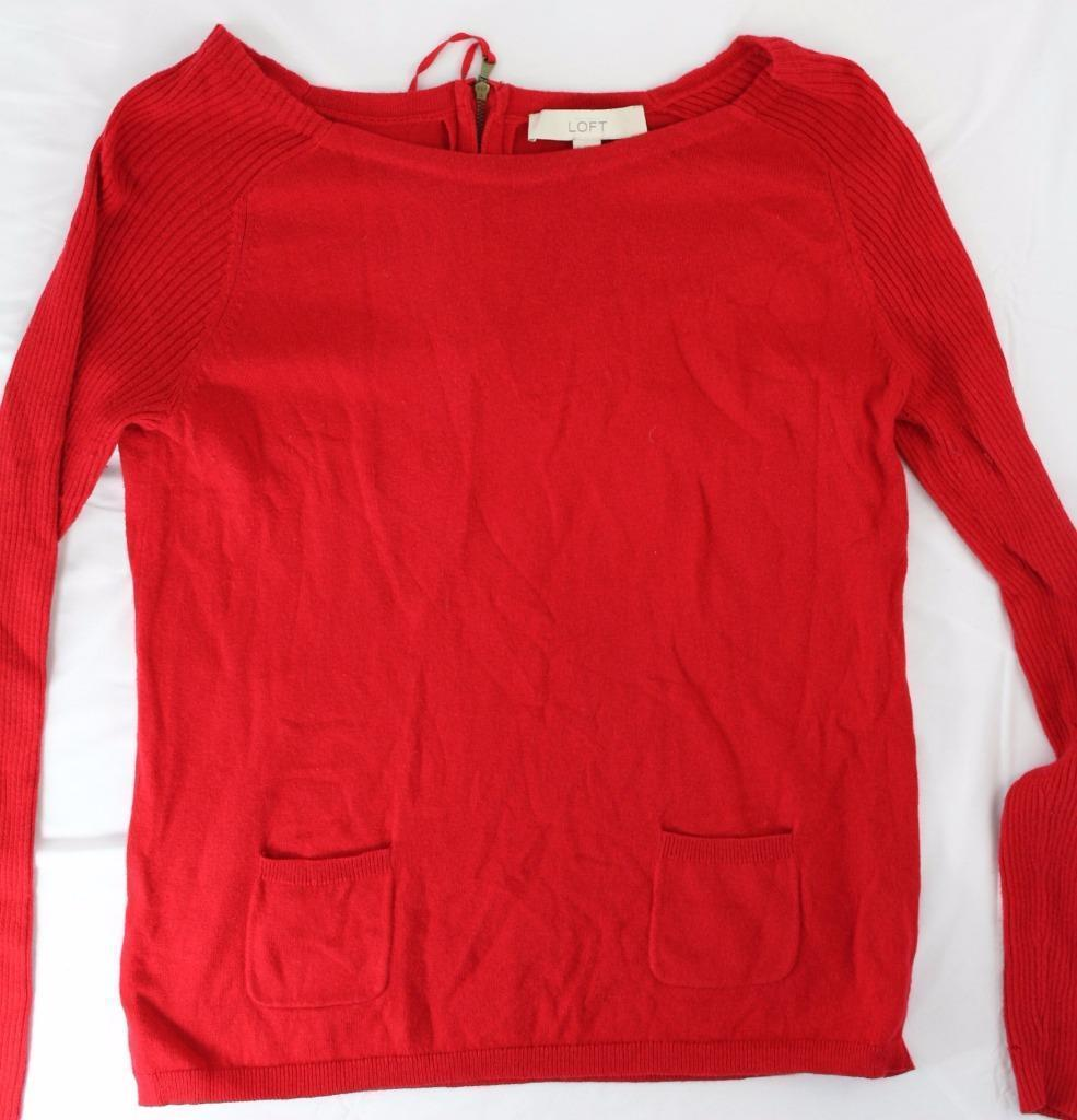 Ann Taylor Loft sz S Red Long Sleeve Sweater Front Pocket Zip Back