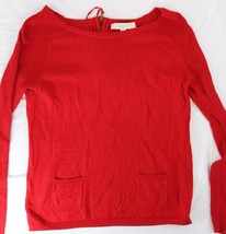 Ann Taylor Loft sz S Red Long Sleeve Sweater Front Pocket Zip Back - $15.00
