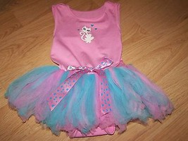 Size 1-2X 2-3 Years Pink Kitty Cat Leotard with Blue Pink Tulle Tutu Ski... - $18.00