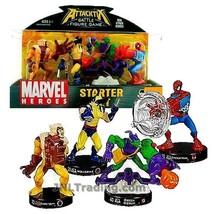 Attacktix 4 Figure Starter Marvel Sabertooth/Wolverine/Green Goblin/Spid... - $44.99