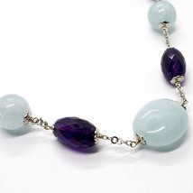 925 Silver Necklace, Oval Amethyst, Aquamarine Disk and spheres, Choker image 2