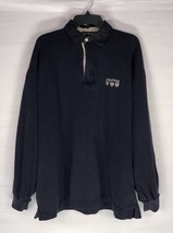 Vintage Nautica Cotton 1/4 Zip Sweater Sz XXL Navy Blue Sleeve Spell out... - $29.69