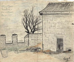 5 sketches - German farmhouse, near the Rhine inside Belgium, March, 1945 - $49.45