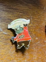 Vintage Small Enamel A&W Bear with CHARITY FLOATS Sign Hat Lapel Pin – 1.25 x 1  - $6.79