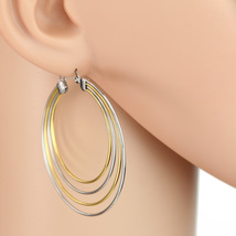 Trendy Large Silver & Gold Tone (Two Tone) Hoop Earrings- United Elegance - $14.99