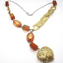 Halskette Silber 925, Achat Orange, Ovale Satin, Herz Konvex Perforiert image 1