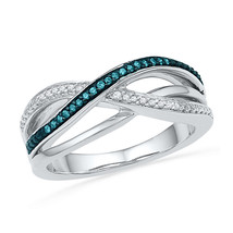 10kt White Gold Womens Round Blue Colored Diamond Crossover Band Ring 1/... - £179.11 GBP