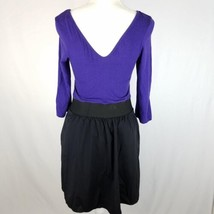 Express Dress Womens Sz 8 Black Purple Elastic Waist Stretch 3/4 Sleeve Pockets image 2