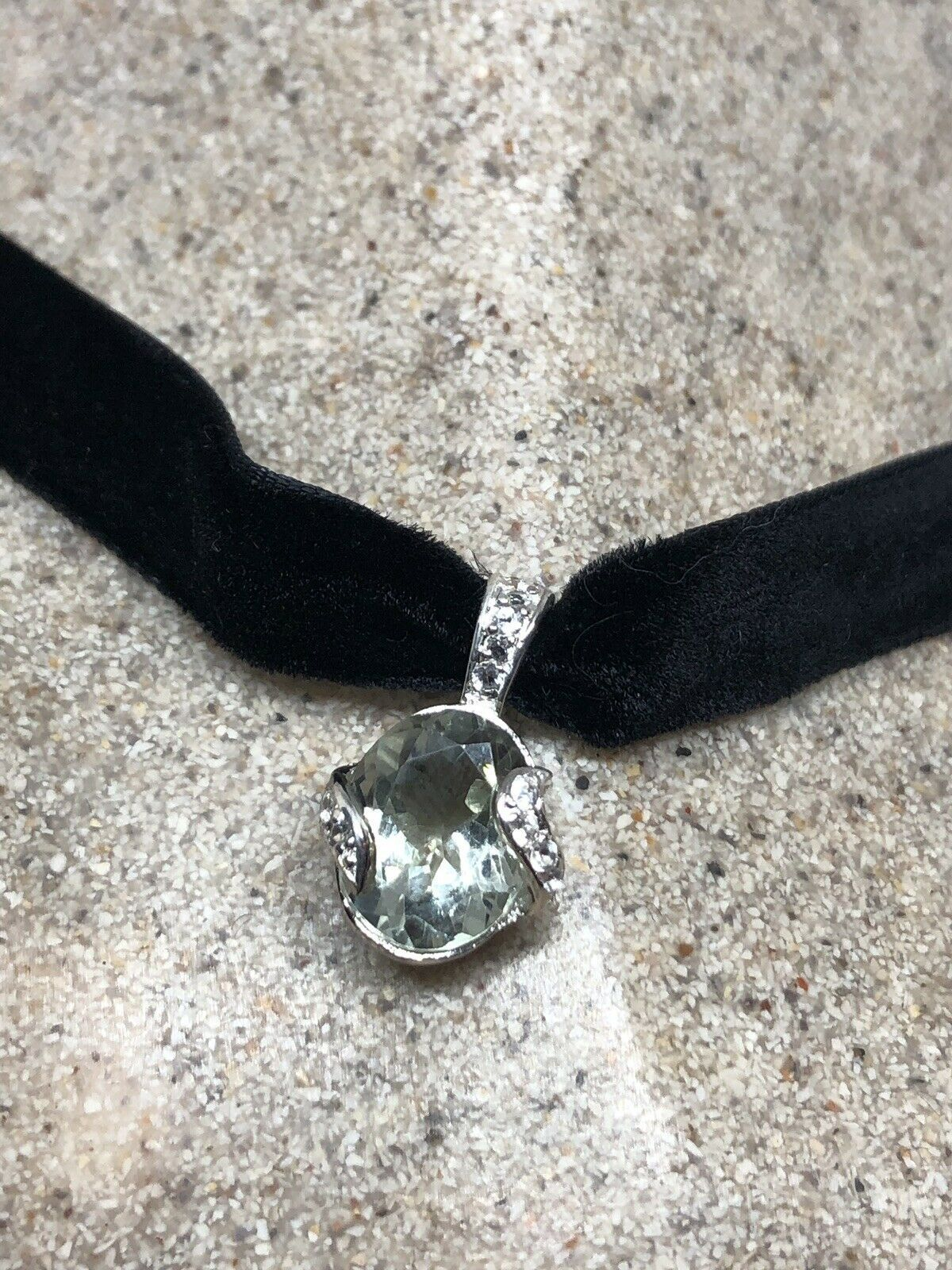 Vintage Green Amethyst Deco Choker 925 Sterling Silver Necklace