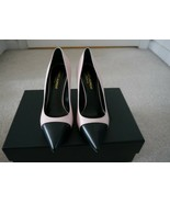 NIB 100% AUTH YSL Saint Laurent Seta Rose Pale Black Cap Toe Pumps Sz 36... - $395.01