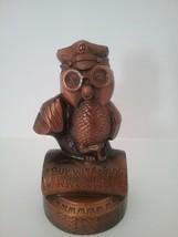 "Vtg Montgomery Wards Riverside, Ca. Wise Owl On Tire Metal Piggy Bank 7""... - $40.83"