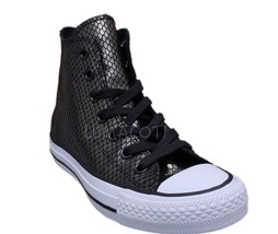 Womens Converse Chuck Taylor All Star Black/White Hi Top Sneakers [555966C] - $62.99