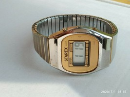 Starex men's quartz digital vintage watch gold tone - $13.99