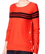 Maison Jules, Women's, Striped Button-Detail Sweater, Loving Red Combo, ... - $39.35