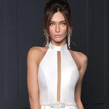 New Arrivals Satin Sheath Wedding Dresses  Beaded Crystal Waist Sexy Backless Ha image 2