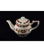 Vintage Sadler Teapot England Ribbed Gold Floral Rust Orange Green Yellow Pink - $44.95