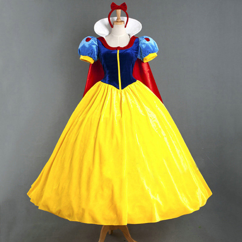 Halloween Priness Snow White Cosplay Costume With Cloak Party Wear