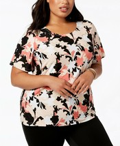 JM Collection Plus Size 3X Top Womens Printed Jacquard Short-Sleeve Blou... - $17.81