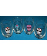 4-  DAY OF THE DEAD  12 oz. Cocktail Glasses  SUGAR SKULL  / Halloween D... - $21.99