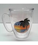 Tervis Mug Sun Palm Trees insulated handle clear - $12.00