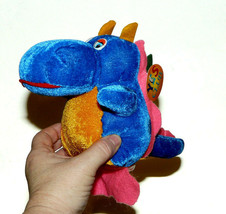 Yes Club Plush Dragon Stuffed Animal Lovey Bright Colors Blue Pink with Tag - $10.77