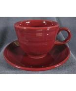 Fiesta Cinnabar Flat Coffee Cup and Saucer Homer Laughlin China Lead Free  - $14.95