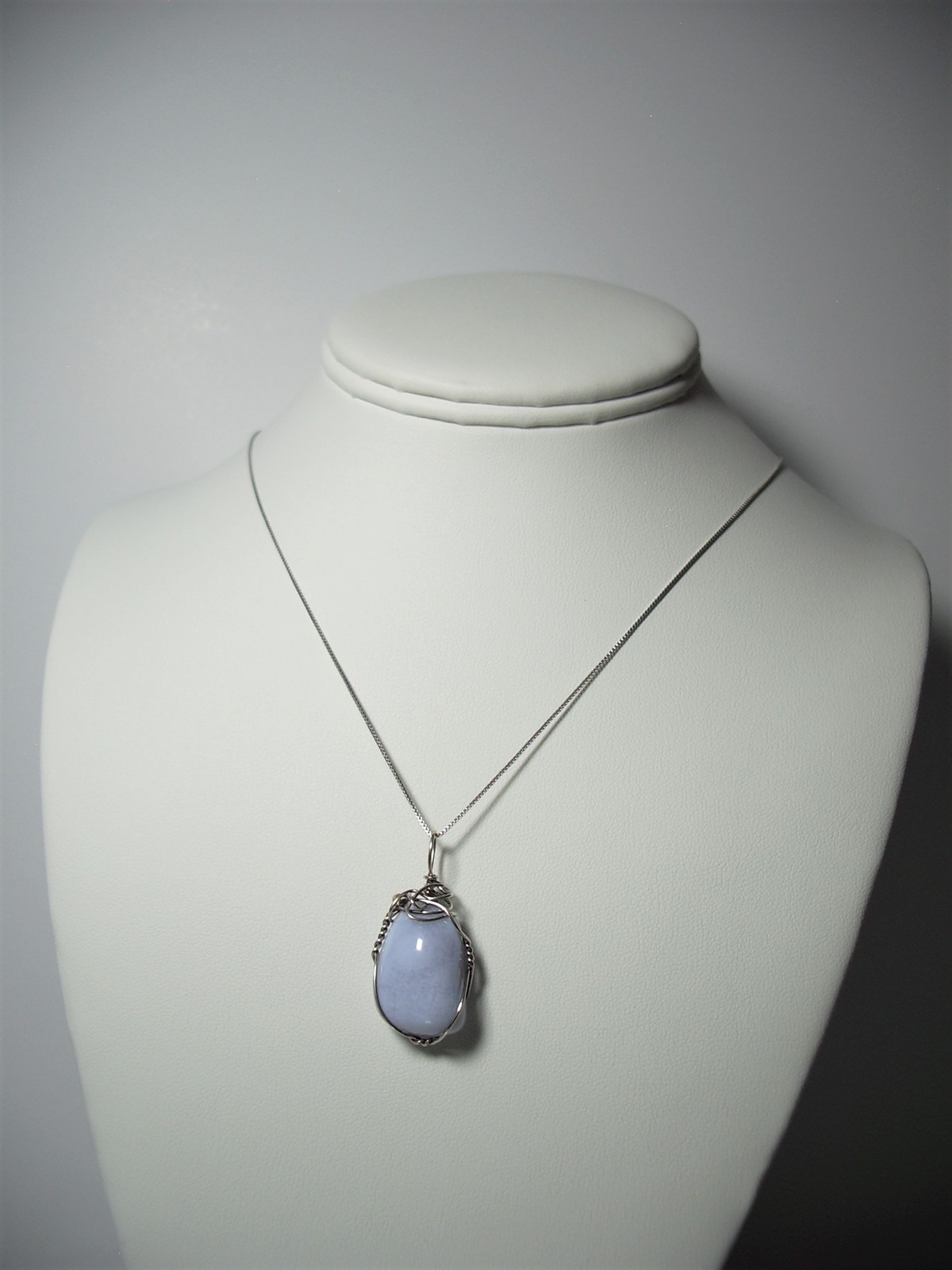 Jemel .925 SS Wire Wrapped Blue Lace Agate Pendant