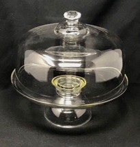Heavy Glass Crystal Dome Covered Pedestal Pastry Cake Plate Stand - $59.99