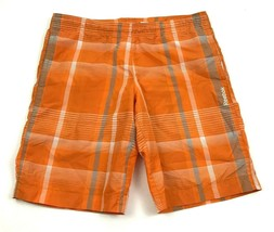 VINTAGE Reebok Swim Trunks Size Small S Orange Lined Boardshorts Pockets... - $17.83