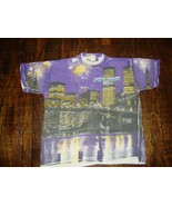Vintage 90's New York City All Over Print Twin Towers T Shirt XL  - $123.74