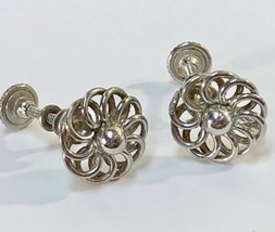 VTG Screw Back Earrings~40s/50s Shiny Silver Tone Spiral Petals Pinwheel... - $15.20