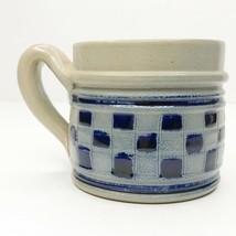 Salt Glazed Stoneware Pottery Mug Cobalt Blue Gray Checkerboard Pattern... - $19.79