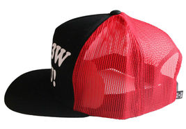 Kr3w Krew Black Red S'Kr3w You! FU Leather Strapback Trucker Baseball Hat NWT image 3