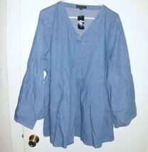 LANE BRYANT Tunic Plus 18/20 Women Blue Denim Jean Flare Sleeve V-Neck S... - $32.66