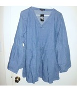 LANE BRYANT Tunic Plus 18/20 Women Blue Denim Jean Flare Sleeve V-Neck S... - $32.66