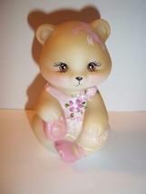 Fenton Glass Ballerina in Pink Tutu Sitting BEAR Figurine GSE M. Kibbe #... - $135.32