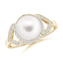 8mm Freshwater Cultured Pearl Split Shank Halo Ring Silver/Gold Size 3-13 - $387.20+