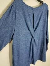 Chaps Women Plus Size Twist Back Jersey Knit Top Blue Long Sleeve Sz 1X NWT $56 - $24.99