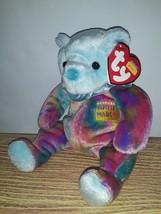 "MWMTs Ty 7"" Beanie Babies MARCH Happy Birthday Teddy Bear with Neck Ruffle NEW - $14.00"